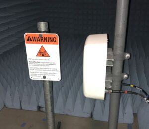 Radiated PIM test on Safety sign support in anechoic chamber that complies with IEC PIM Testing Standard 62037-8